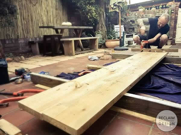 Clamping up the table top | Reclaim Design
