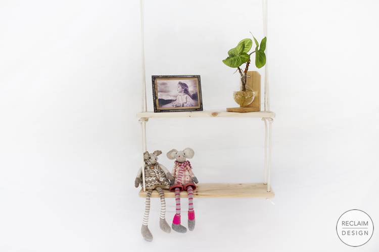 Sustainable hanging shelves made from reclaimed wood | Reclaim Design