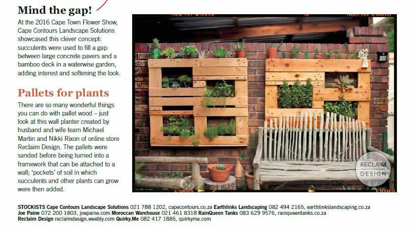 Our reclaimed wood vertical gardens in Home Magazine | Reclaim Design