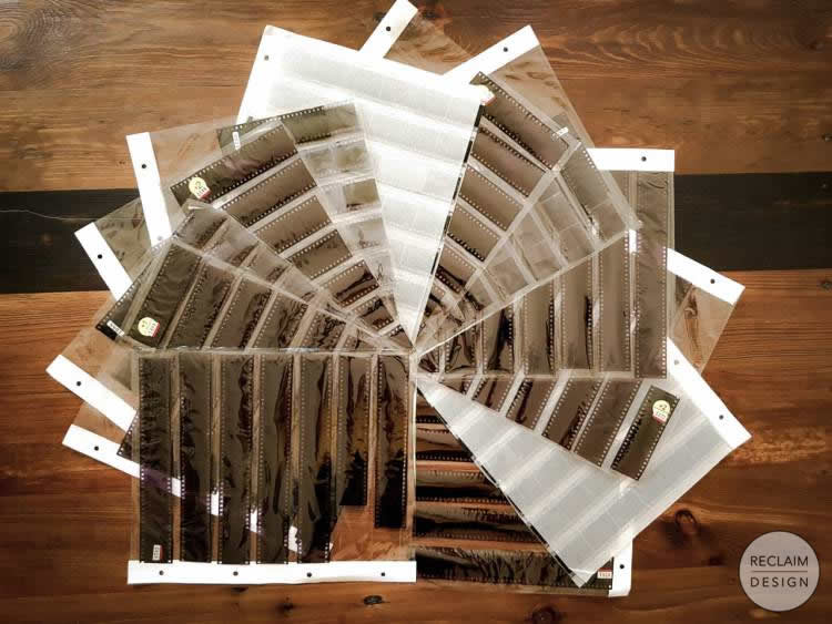 Film negatives for making the lamp shade | Reclaim Design