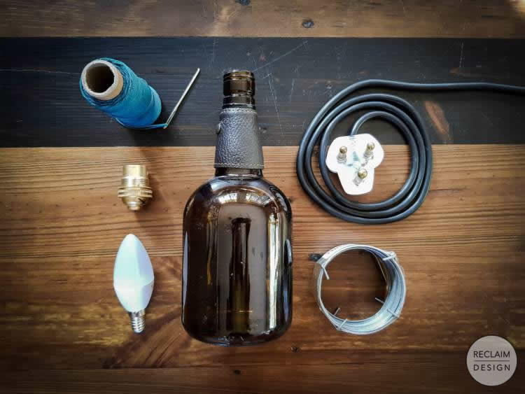 Components needed for making our upcycled bottle lamp | Reclaim Design