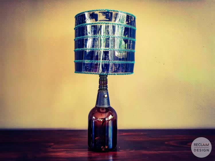 The finished upcycled bottle lamp | Reclaim Design