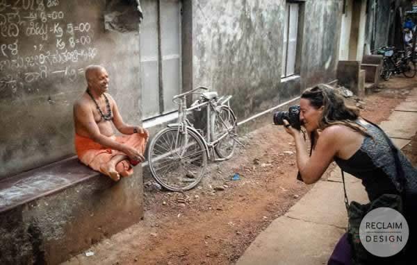 Nikki photographing the local miller in Gokarna India | Reclaim Design