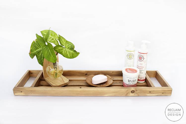 Sustainable wooden bath caddy made from reclaimed wood | Reclaim Design