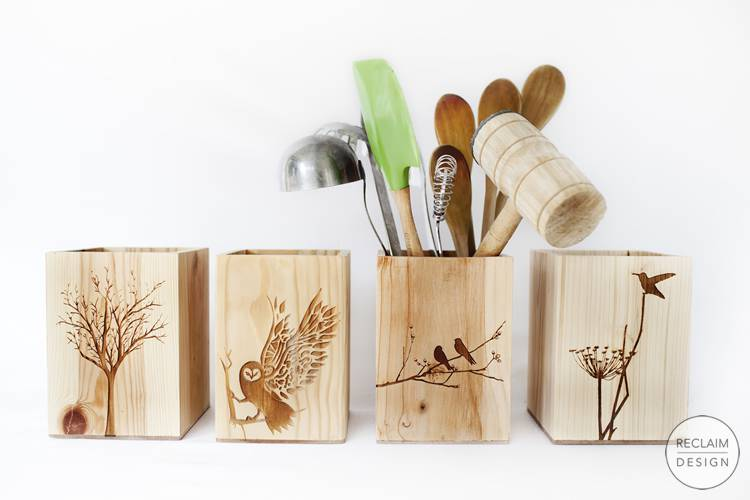 Lazer Etched Reclaimed Wood Boxes | Reclaim Design
