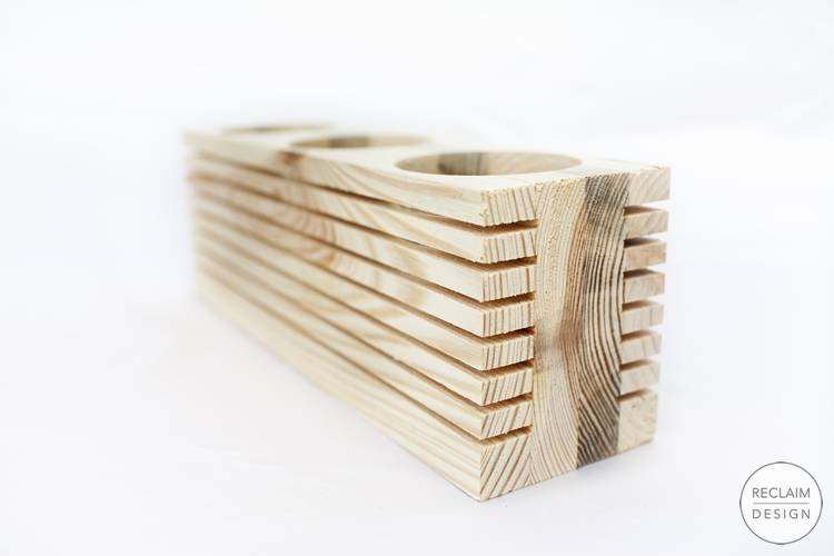 Sustainable reclaimed wood candle displays - natural decor | Reclaim Design