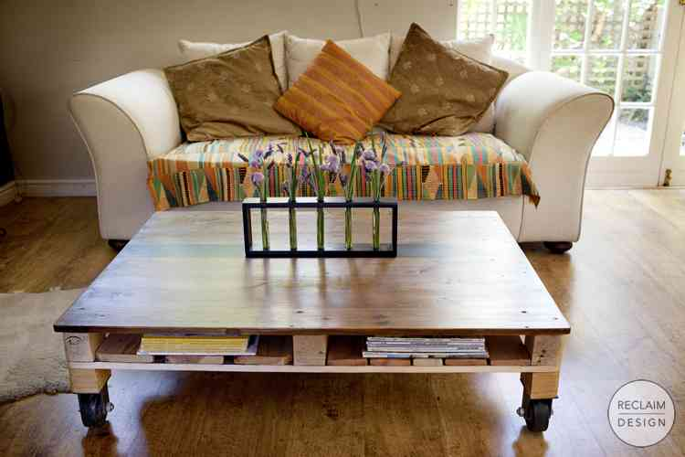 Reclaimed Pallet Wood Coffee Table with Cast Iron Wheels - Home Decor Items | Reclaim Design