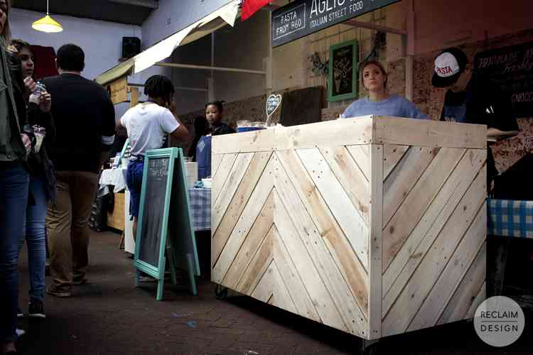 Reclaimed Wood Market Stand on Wheels | Reclaim Design