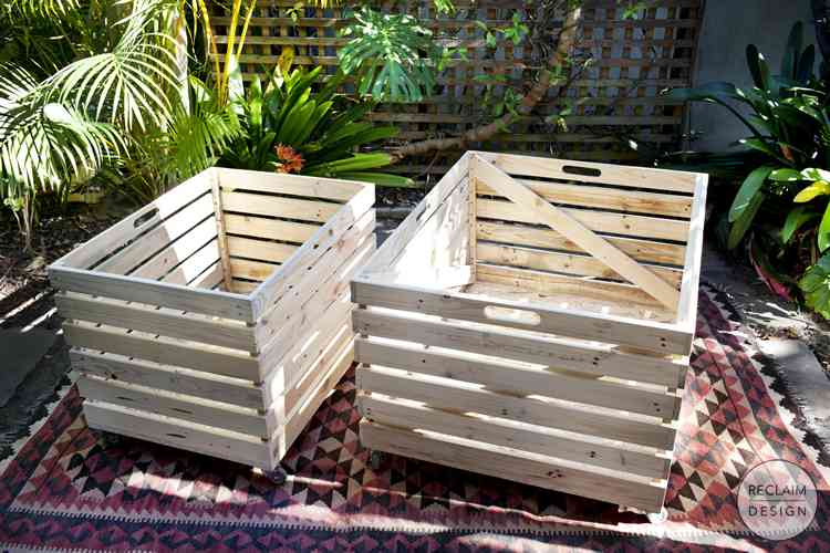 Reclaimed Wood Storage Crates on Wheels | Reclaim Design