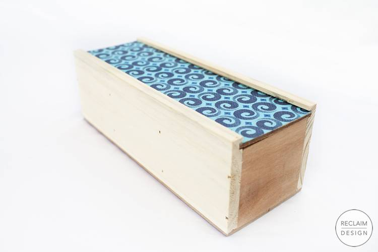 Sustainable tea box with fabric covered lid made from reclaimed wood | Reclaim Design