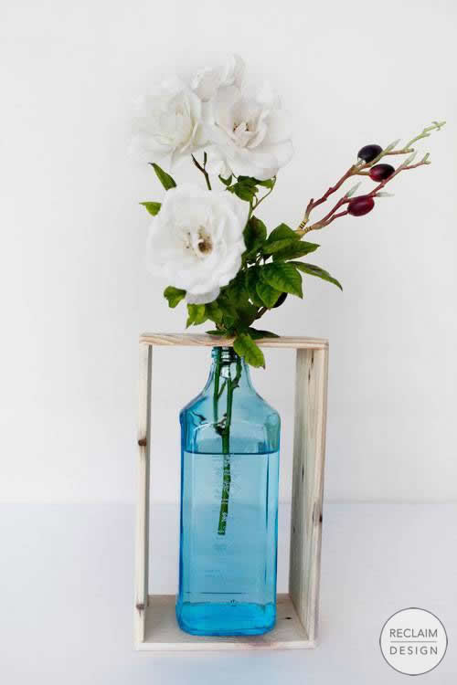 Recycled Gin Bottle Vase With Reclaimed Wood Stand | Reclaim Design