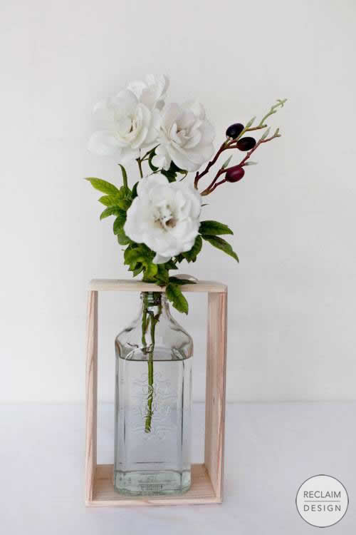 Recycled Clear Gin Bottle Vase with Reclaimed Wood Stand | Reclaim Design