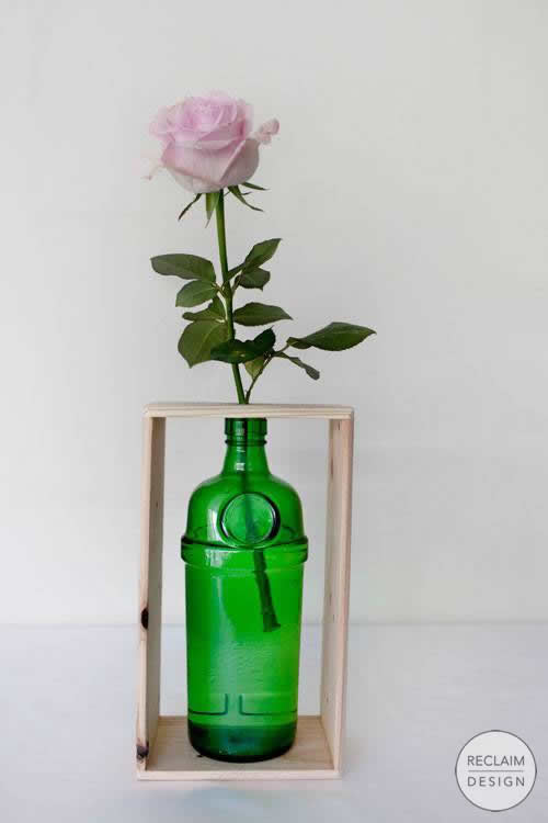 Recycled Green Gin Bottle Vase with Reclaimed Wood Stand | Reclaim Design
