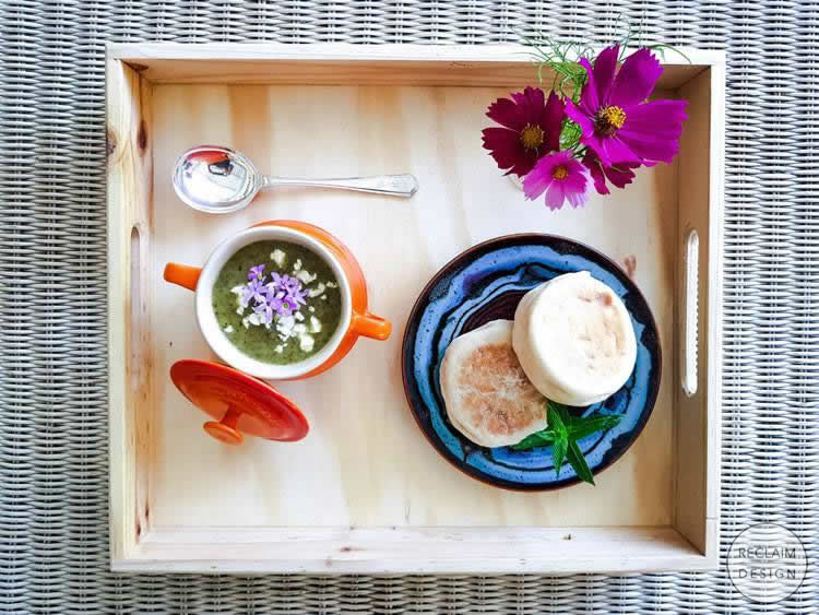 Soup is served on our reclaimed wood serving tray   Reclaim Design