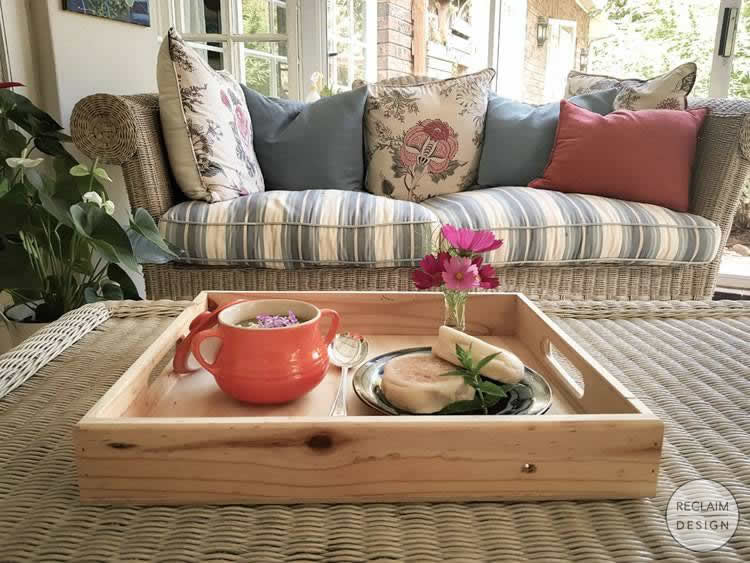 Soup on our reclaimed wood serving tray   Reclaim Design