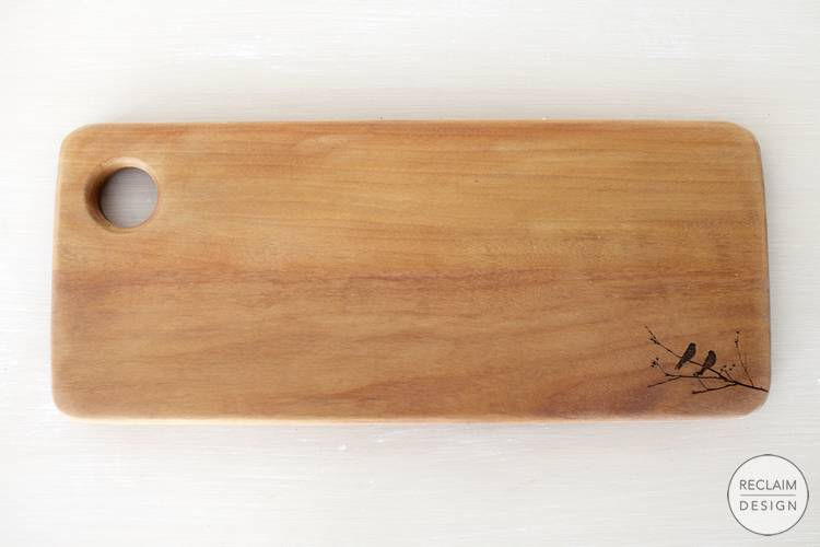 Sustainable lazer etched bread board made from reclaimed wood | Reclaim Design