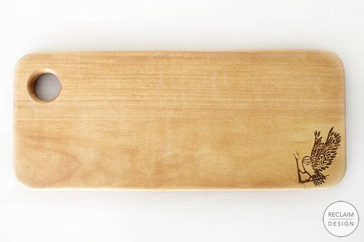 Sustainable lazer etched chopping board made from reclaimed wood | Reclaim Design