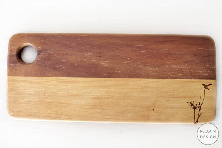 Sustainable lazer etched breadboard made from reclaimed wood | Reclaim Design