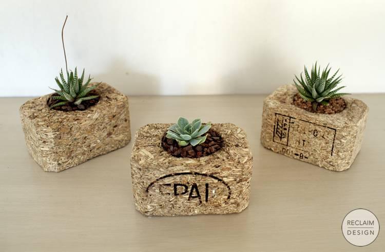 Sustainable succulent garden made from reclaimed composite block | Reclaim Design
