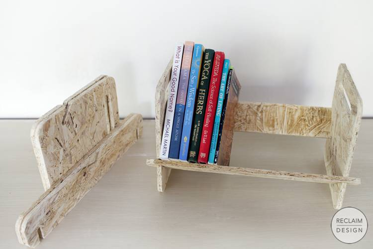 Sustainable flat pack book shelf made from reclaimed OSB | Reclaim Design