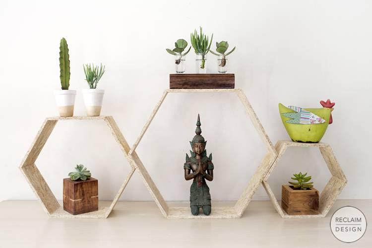 Sustainable hexagonal shadow box set made from reclaimed OSB | Reclaim Design