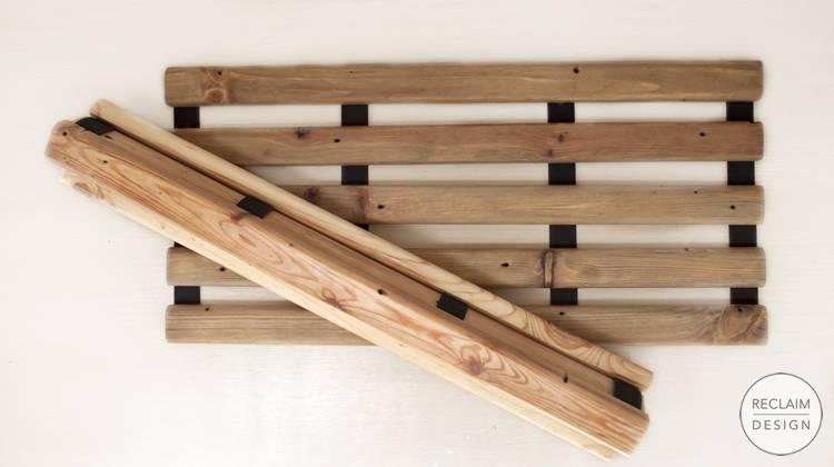 Sustainable Reclaimed Wood Folding Bath Mats | Reclaim Design
