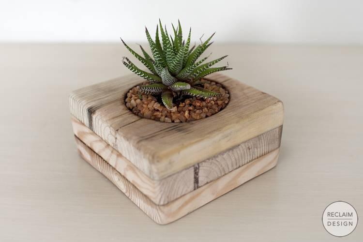 Sustainable succulent garden made from reclaimed pallet blocks | Reclaim Design