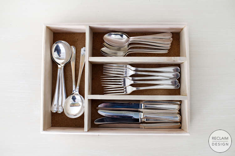 Sustainable Cutlery Tray Made From Reclaimed Wood | Reclaim Design