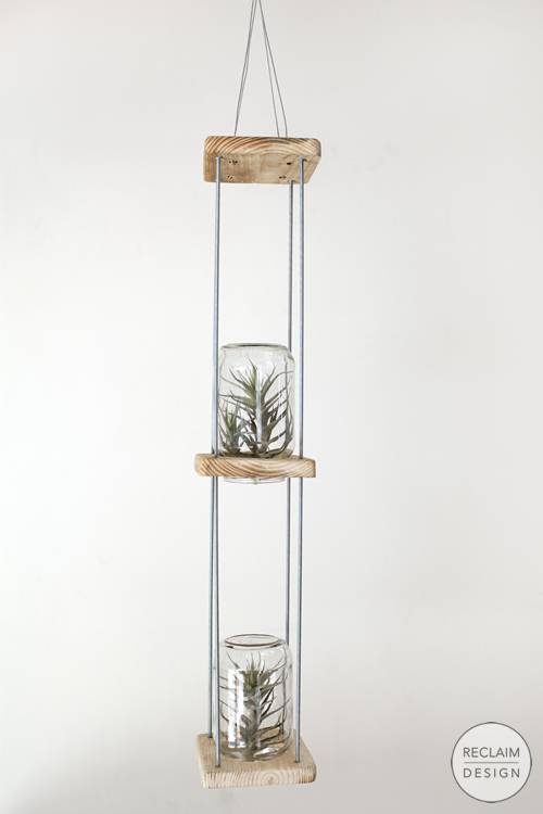 Sustainable hanging airplant terrarium made from reclaimed wood | Reclaim Design