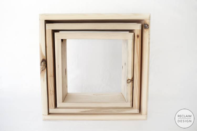 Sustainable wall mounted shadow box set made from reclaimed wood | Reclaim Design
