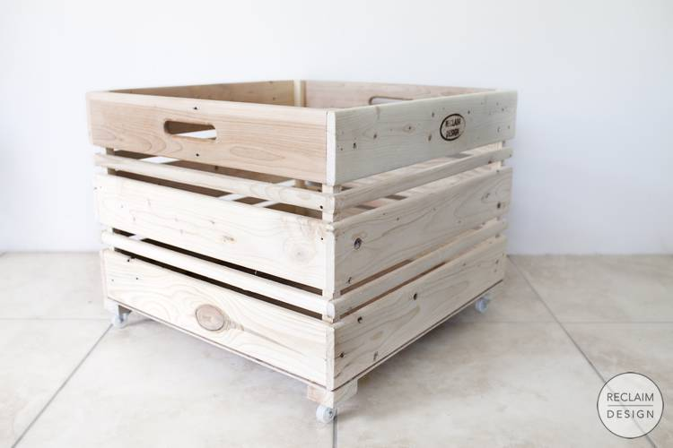 Sustainable storage crate on wheels made from reclaimed wood | Reclaim Design