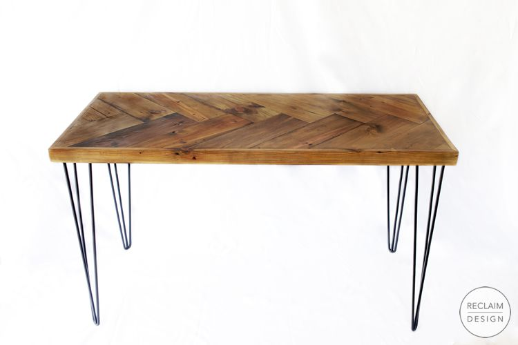 Sustainable herringbone table made from reclaimed wood with hairpin legs | Reclaim Design