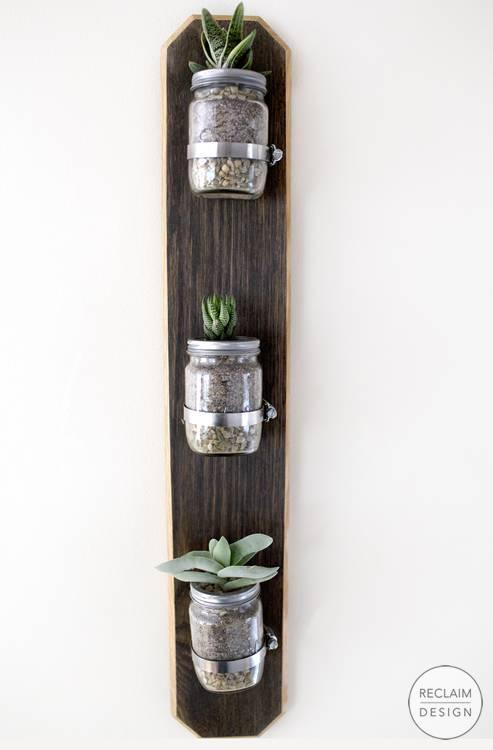 Sustainable wall mounted reclaimed wood terrarium - succulent display ideas | Reclaim Design
