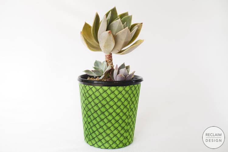 Sustainable recycled plastic pot covered with fabric decoupage | Reclaim Design
