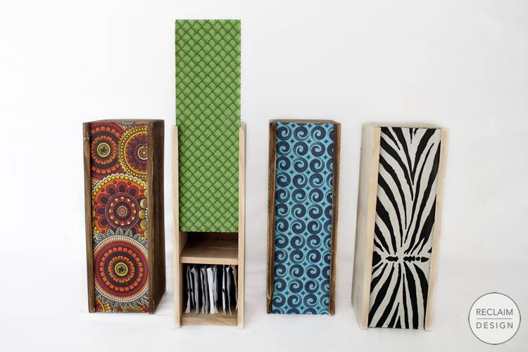 Sustainable tea boxes with fabric covered lids made from reclaimed wood | Reclaim Design