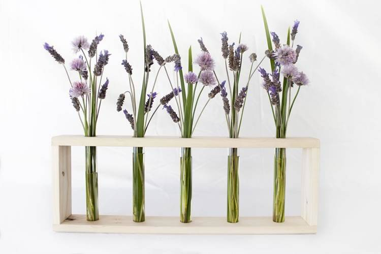 Eco-Friendly Home Decor - Test Tube Vases With Reclaimed Wood Stand | Reclaim Design