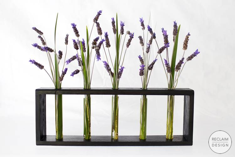 Test tube decorative vases with sustainable reclaimed wood stand | Reclaim Design