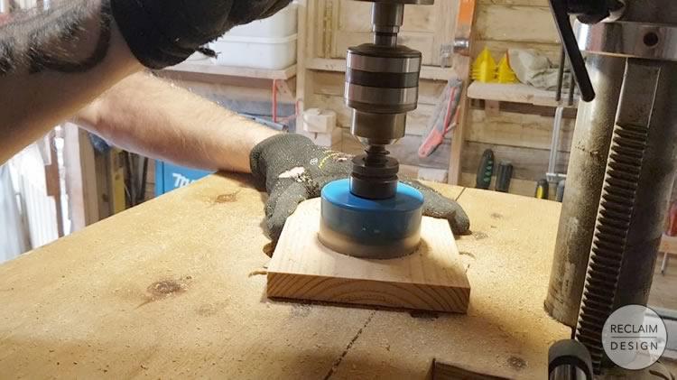 Cutting entrance hole to the bird box   Reclaim Design