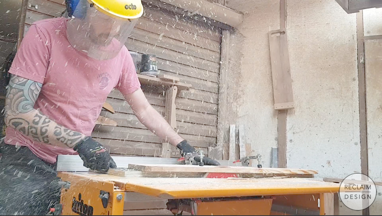 Using the jointer sled to straighten board edges for the bird box   Reclaim Design